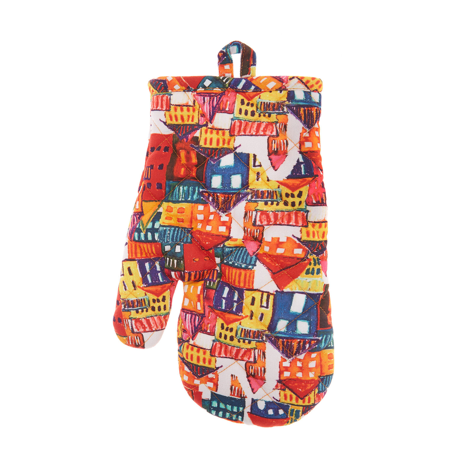 Oven mitt in cotton twill with house print