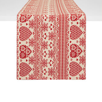 Gobelin table runner with hearts motif