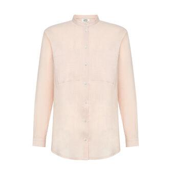 Solid color linen blend shirt