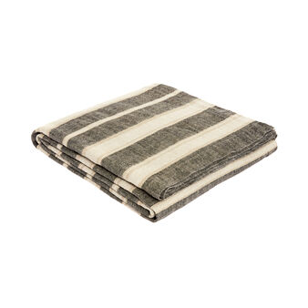 100% washed linen throw with stripes