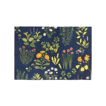 Cotton blend kitchen mat with Herbarium print