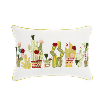 Cushion with cactus embroidery 35x50cm