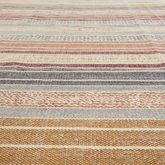Hand-printed striped cotton rug