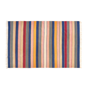 Dhurrie rug in pure cotton with multicolored stripes