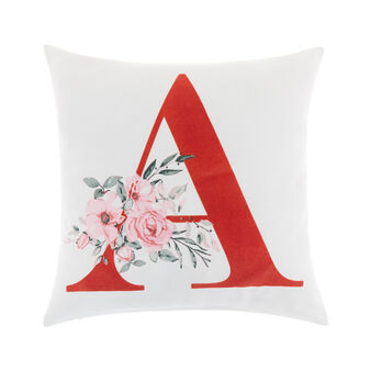 Cotton cushion cover with A print 45x45cm