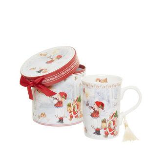 Vintage porcelain mug with girl decoration