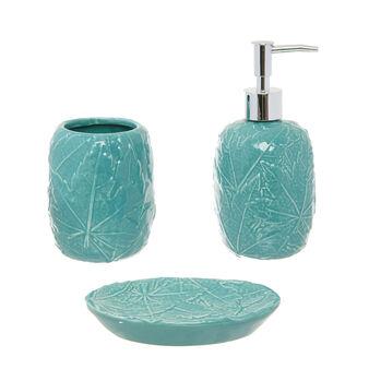 Ceramic bathroom set with raised leaves