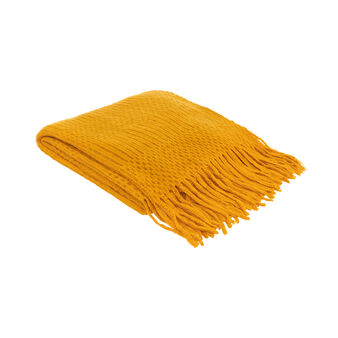 Open-knit throw with fringe