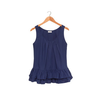 Pure cotton vest with wide straps and flounce on the hem.