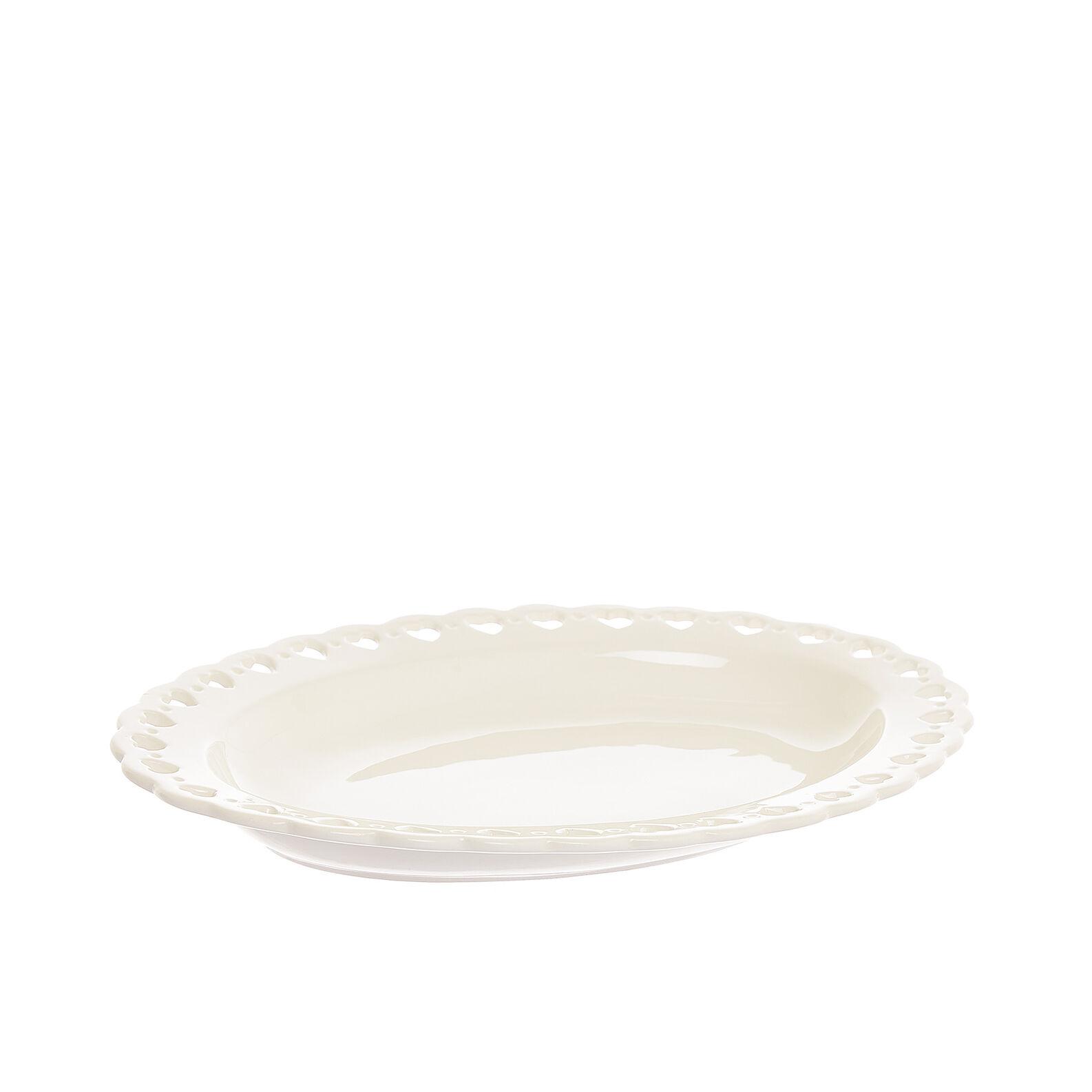Piatto ovale ceramica cuori traforati