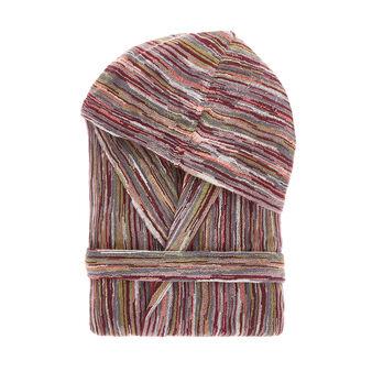 Cotton bathrobe with striped jacquard design