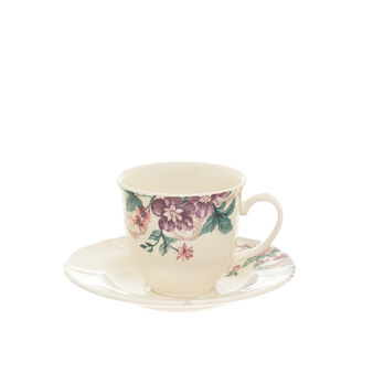 Stoneware tea cup with rose decoration