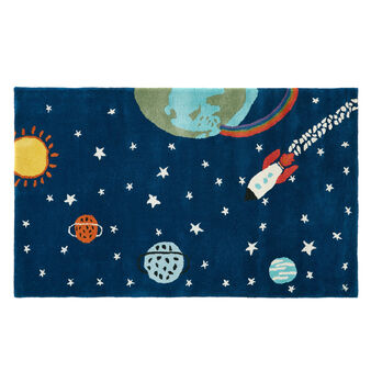Wool rug with space motif