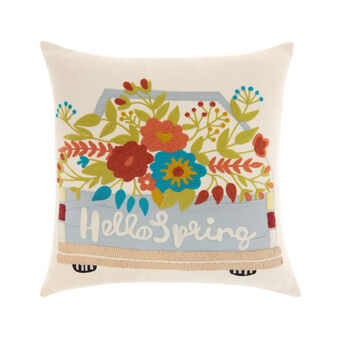 Floral embroidery cushion 45x45cm