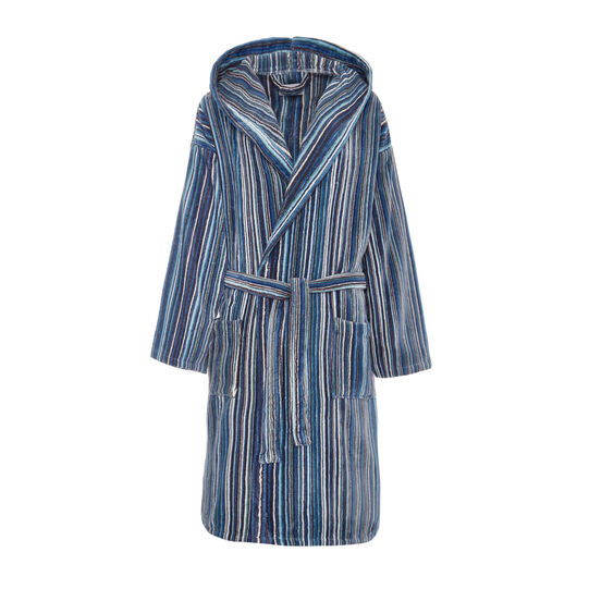 Cotton velour bathrobe with multicoloured striped pattern