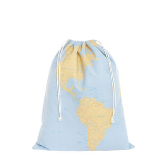 Laundry bag with map decoration