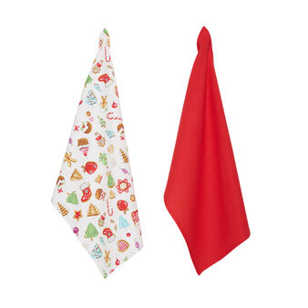Two-pack 100% cotton tea towels with Christmas print by Sandra Jacobs design
