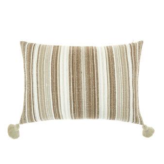 Cuscino cotone e lino con nappine 35x55cm