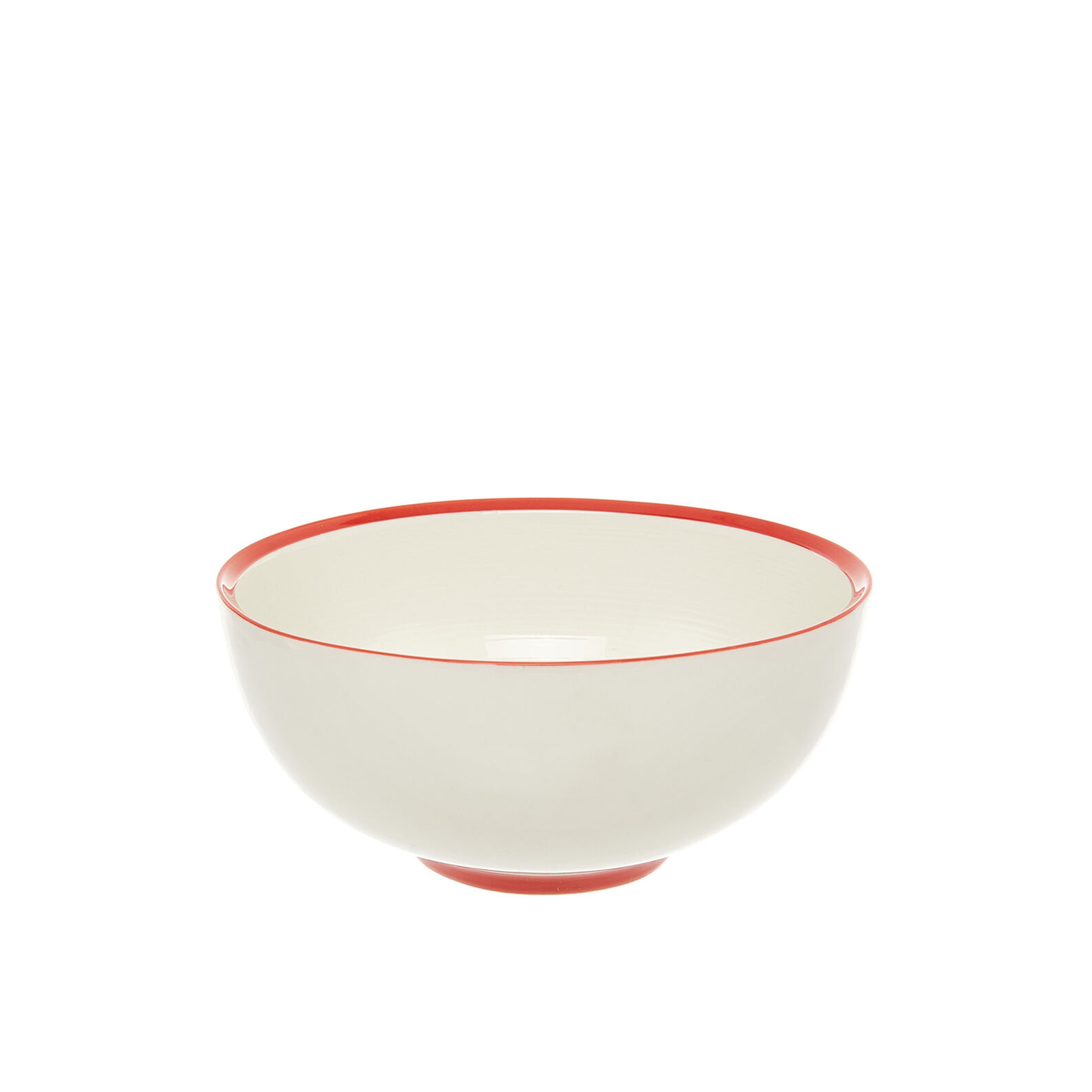 Bowl in new bone China with red stripe