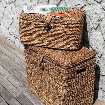 Maxi hand-woven water hyacinth basket
