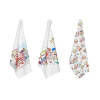 Set of 3 tea towels in 100% cotton with Montmartre print