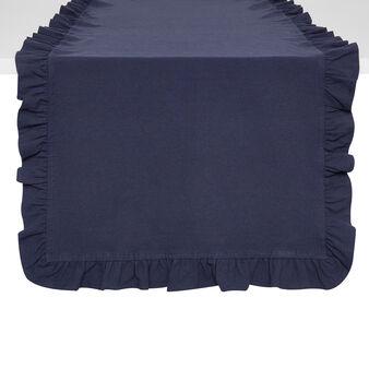 Runner puro cotone garment washed bordo volant