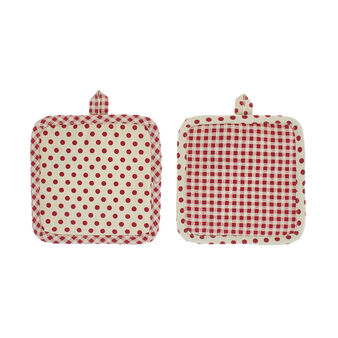 2-pack pot holders in 100% cotton with squares and polka dots print