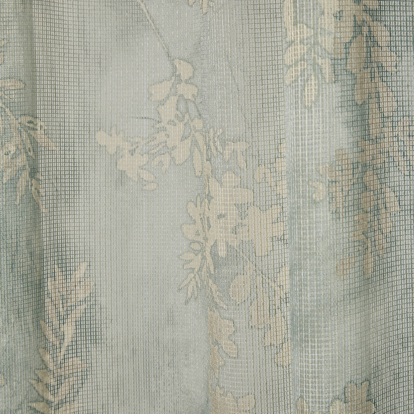 Recycled fabric curtain with botanical print and concealed loops