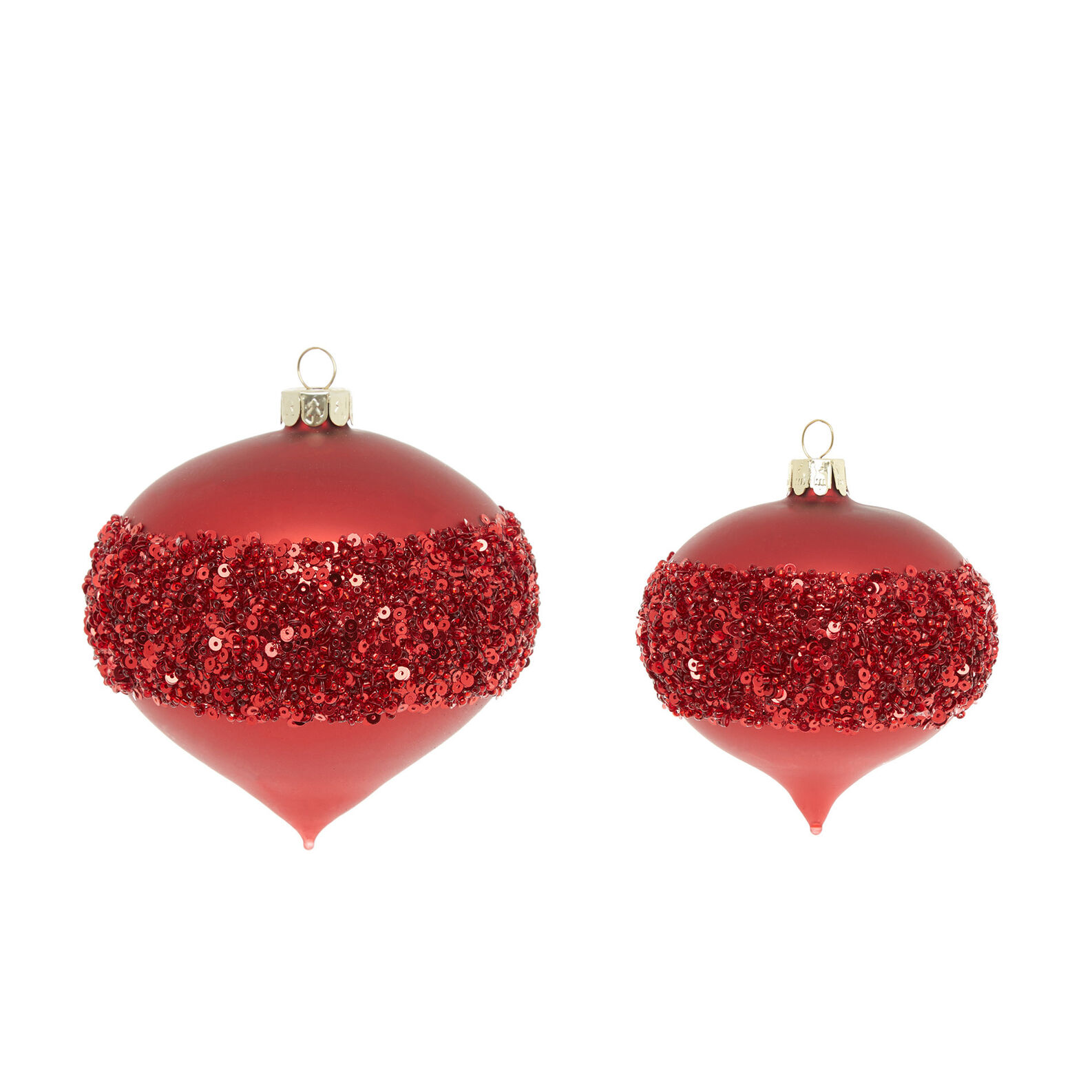 Hand-decorated onion bauble with glitter band D8cm
