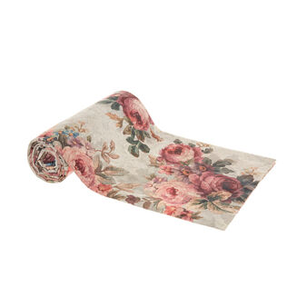 Cotton throw with rose print
