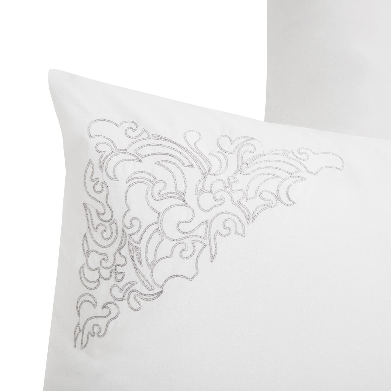 Bed linen set in cotton percale with frieze embroidery