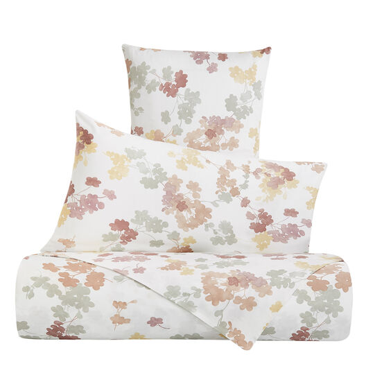 Cotton satin duvet cover set with flowers pattern