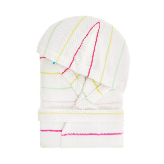 Cotton velour bathrobe with striped pattern
