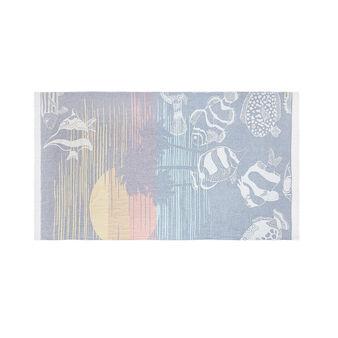 Lightweight cotton beach towel with marine motif
