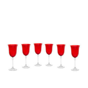 Set of 6 coloured glass water goblets