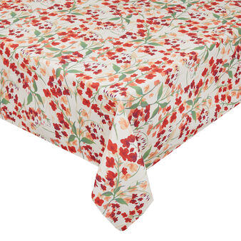 Cotton twill tablecloth with lily-of-the-valley print