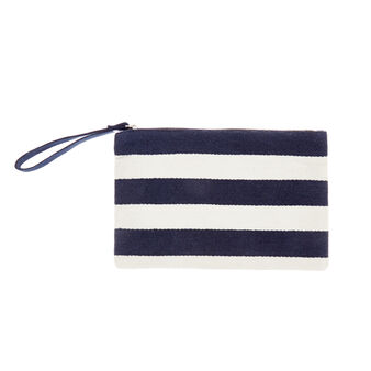Striped cotton beach clutch