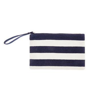 Striped cotton beach clutch