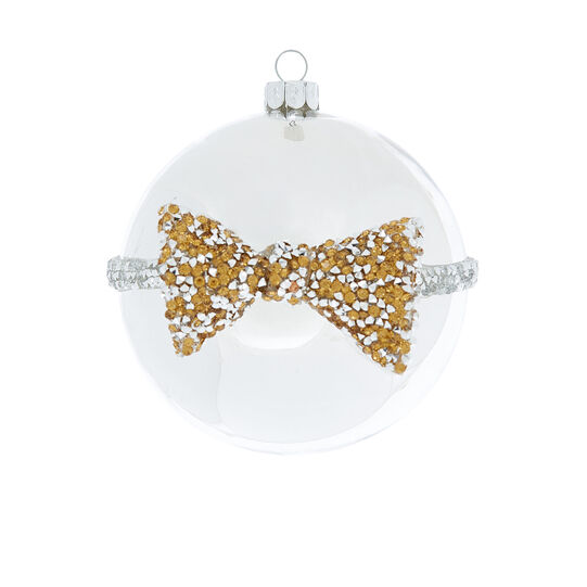 Hand-decorated bauble with bow