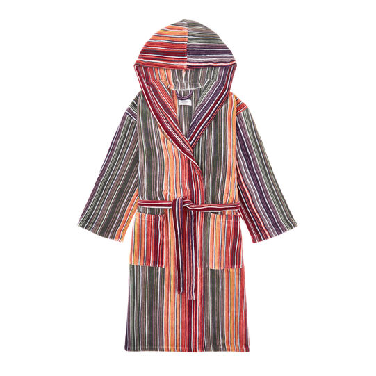 Cotton velour bathrobe with multicoloured stripes