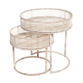 Ngwe set of 2 coffee tables in hand-woven rattan