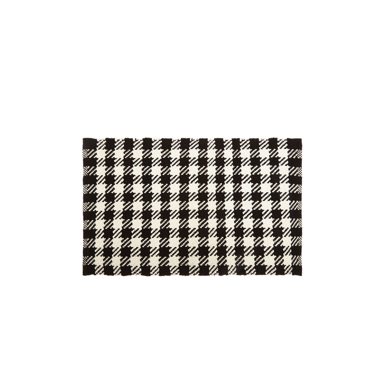 Woven cotton door mat with check design