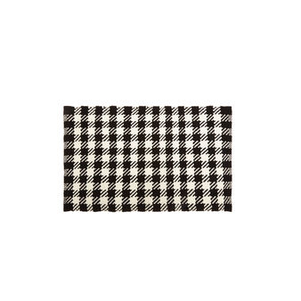 Woven cotton door mat with check design