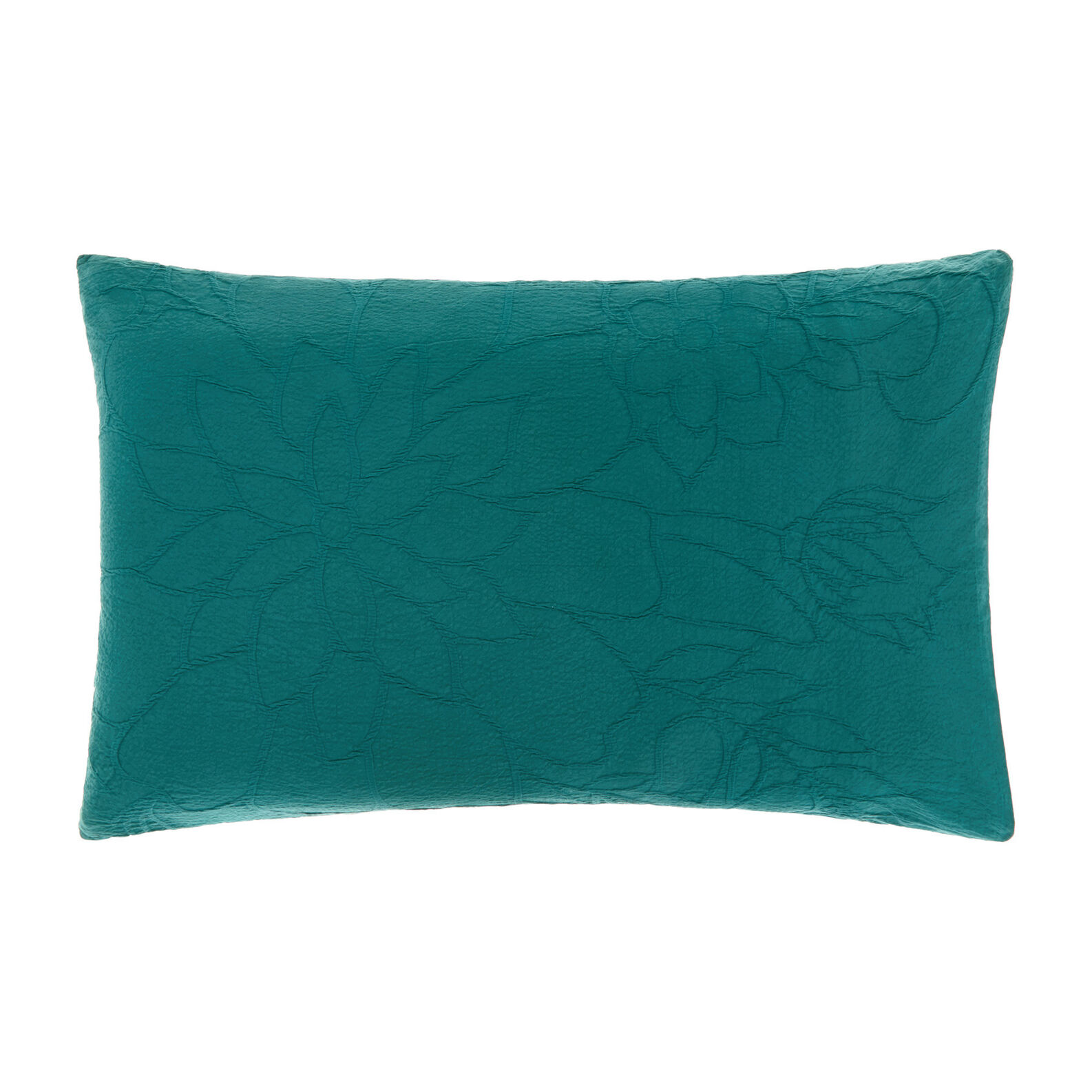 Cotton pillowcase with embossed floral pattern
