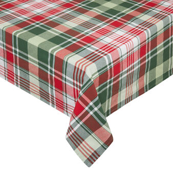 Yarn-dyed eater-repellent tablecloth in 100% cotton with check motif