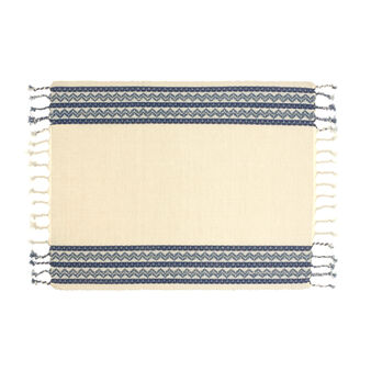Tablecloth in 100% cotton with ethnic striped embroidery