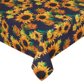 Water-repellent cotton twill tablecloth with sunflowers print