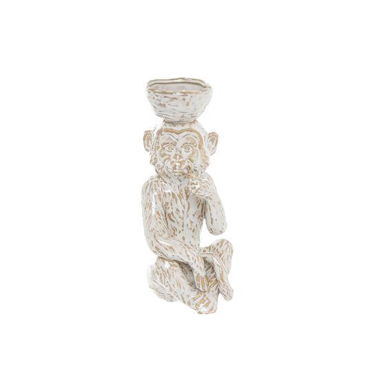 Hand-finished ceramic decorative monkey