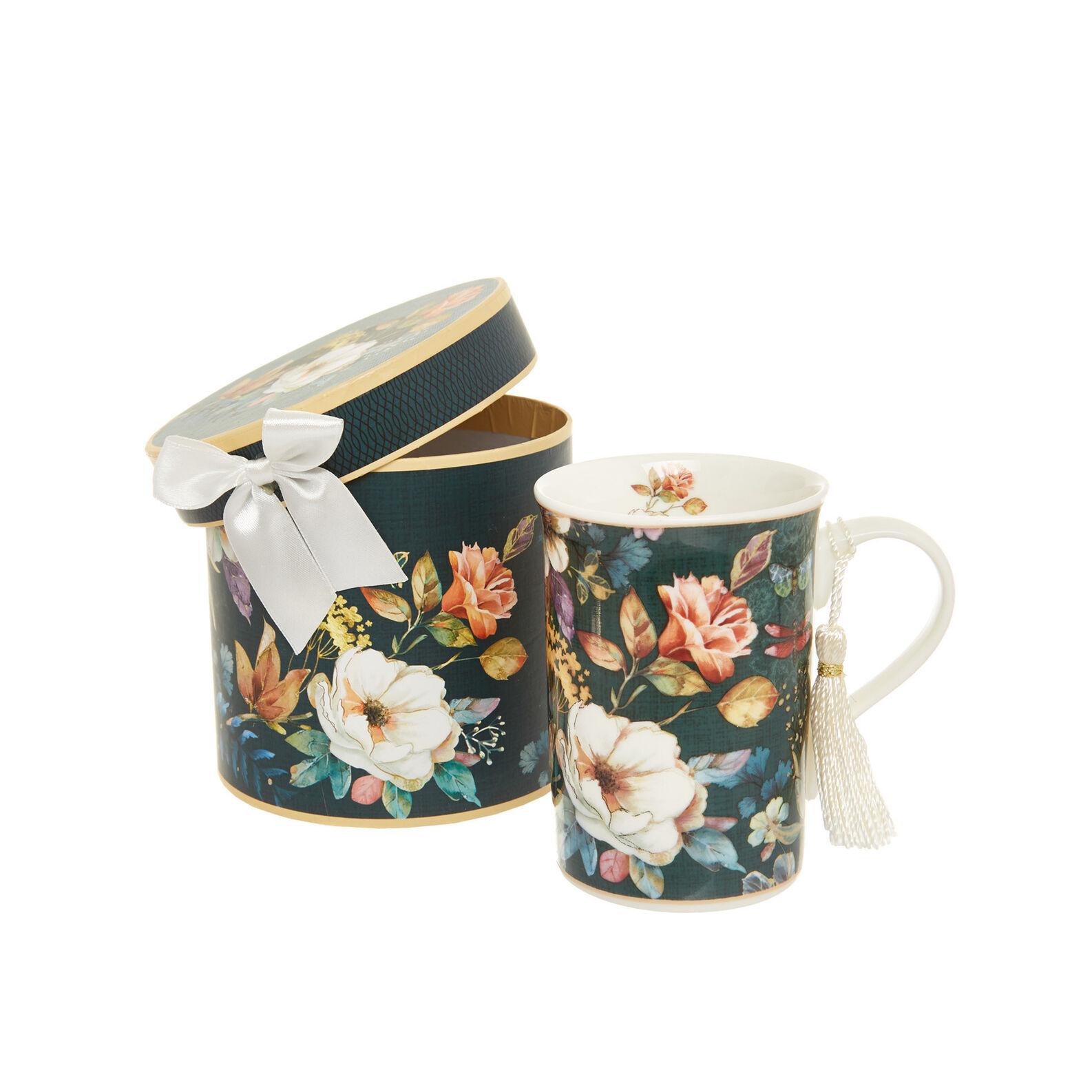 Mug in new bone China with floral motif