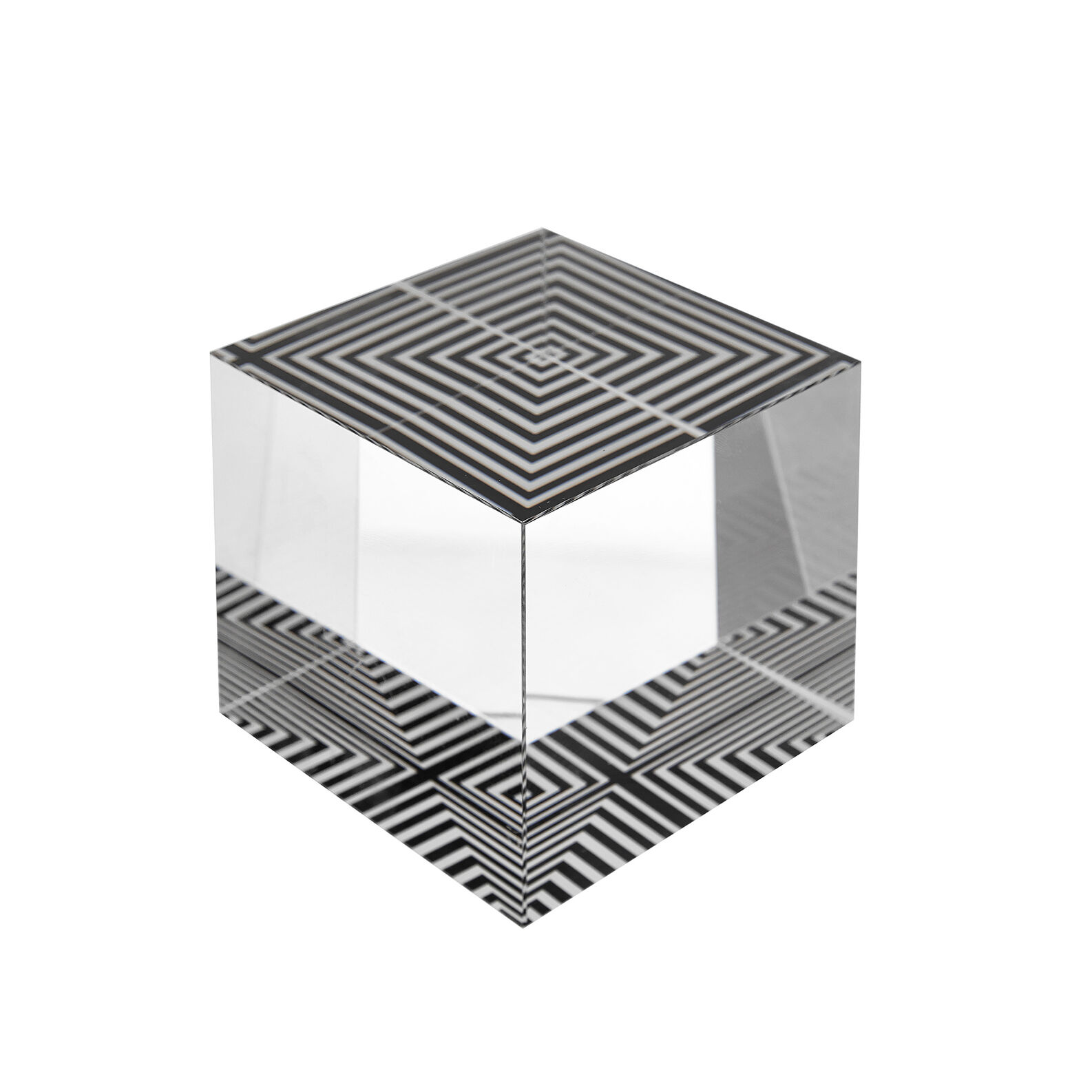 Glass cube paperweight